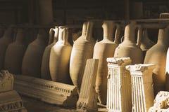 Oude bevindingen en artefacten in antieke stad Pompei in Italië Stock Afbeelding