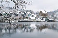 Oude Beyenburg in de sneeuw, Wuppertal stock afbeeldingen