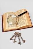 Oude Bijbel met meer magnifier royalty-vrije stock afbeelding