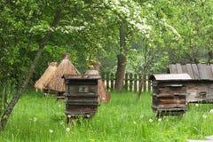 Oude bijenkorven in de tuin Royalty-vrije Stock Foto's