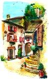 Oude binnenplaats in zuidelijk Italië stock illustratie