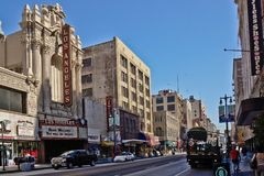 Oude bioscoop in La van de binnenstad stock fotografie