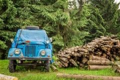 Oude blauwe auto in de bergen dichtbij het bos Stock Afbeelding