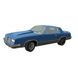 Oude blauwe auto op witte achtergrond stock afbeelding