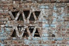 Oude blauwe bakstenen muur Stock Fotografie
