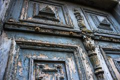 Oude blauwe deuren van 19de eeuw Royalty-vrije Stock Afbeeldingen