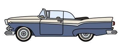 Oude blauwe en witte Amerikaanse convertibel royalty-vrije illustratie