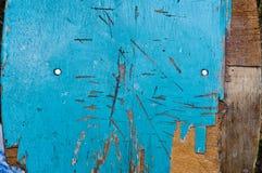 Oude blauwe houten knarste omheining Royalty-vrije Stock Foto's