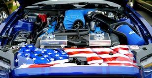 Oude blauwe motor van een auto De auto toont, Manassas, VA stock afbeeldingen