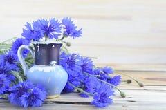 Oude blauwe waterkruik en korenbloemen Royalty-vrije Stock Foto's