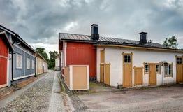 Oude blokhuizen in Rauma Finland stock foto's