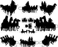 Oude Blokkenwagen met de Vector van Vier Paard Stock Afbeeldingen