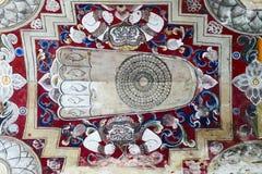 Oude Boeddhistische Ayutthaya-de Muurschilderingschilderijen van het Stijlplafond bij de Tempel van Kyauk Taw Gyi royalty-vrije stock fotografie