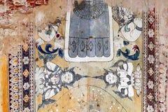 Oude Boeddhistische Ayutthaya-de Muurschilderingschilderijen van het Stijlplafond bij de Tempel van Kyauk Taw Gyi royalty-vrije stock afbeelding