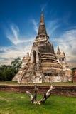 Oude Boeddhistische pagoderuïnes bij Wat Phra Sri Sanphet-tempel thailand stock afbeelding