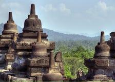 Oude Boeddhistische tempel, Borobodur Stock Afbeeldingen