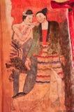 Oude Boeddhistische tempelmuurschildering Stock Foto's