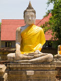Oude Boedha in Wat Yai Chai Mongkhon van Ayuthaya, Thailand Stock Foto