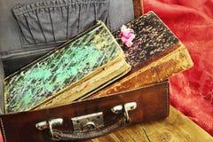 Oude boeken in een koffer Stock Fotografie