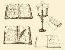 Oude boeken en registers vector illustratie