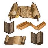 Oude boeken Papyrus, een houten boek Schrijvende oude mensen Royalty-vrije Stock Afbeelding