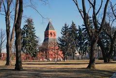 Oude bomen in Moskou het Kremlin De Plaats van de Erfenis van de Wereld van Unesco Stock Afbeeldingen