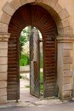 Oude boog met een houten deur stock fotografie
