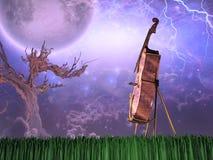 Oude Boom en Cello royalty-vrije illustratie