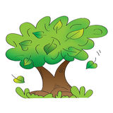 Oude boom met dalende bladeren Royalty-vrije Stock Afbeeldingen