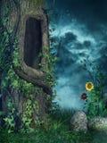 Oude boom met klimop royalty-vrije illustratie
