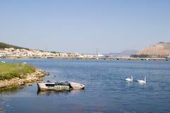 Oude boot in de lagune in Argostoli, Kefalonia, September 2006 royalty-vrije stock foto