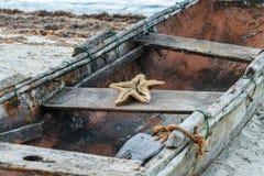 Oude boot met zeester Stock Foto's