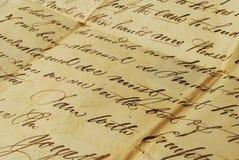 Oude brief, elegant handschrift royalty-vrije stock afbeelding