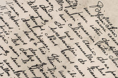 Oude brief met met de hand geschreven Franse teksten Stock Afbeeldingen