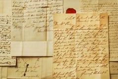 Oude brieven, elegant handschrift stock afbeelding