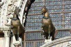 Oude bronspaarden stock foto