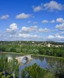 Oude Brug, de Rivier van de Rhône, Avignon Frankrijk Royalty-vrije Stock Foto's