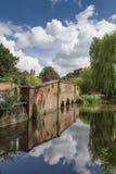 Oude brug en rivier door Verulanium Park in St Albans, Royalty-vrije Stock Foto's