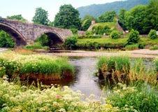 Oude brug in Llanrwst Royalty-vrije Stock Fotografie