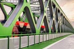 Oude brug met tram in Bratislava, nieuwe gebouwde versie Stock Afbeeldingen