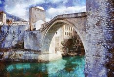 Oude Brug in Mostar Stock Foto's