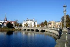 Oude brug in Schwerin stock foto's