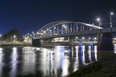 Oude brug in Szeged bij nacht Royalty-vrije Stock Fotografie