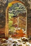 Oude brug, zure mijndrainage Stock Afbeeldingen