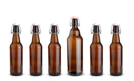 Oude bruine flessen Royalty-vrije Stock Foto's