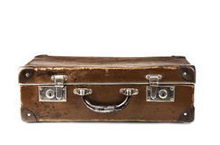 Oude bruine koffer Royalty-vrije Stock Afbeeldingen