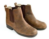 Oude Bruine Laarzen Stock Foto