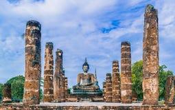 Oude Buddhas Sukhothai in Historische het Park eerste hoofdstad van Sukhothai van Thailand royalty-vrije stock foto's