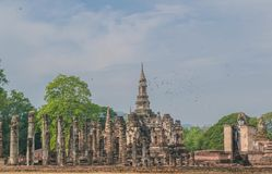 Oude Buddhas Sukhothai in Historische het Park eerste hoofdstad van Sukhothai van Thailand stock foto's