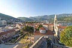 Oude Budva Huizen, straten en stegen montenegro stock foto's